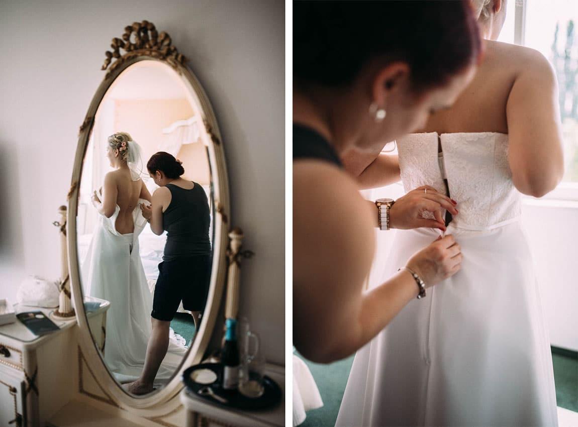 Getting Ready Brautkleid anziehen