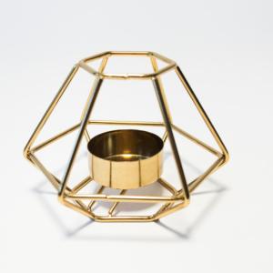 Teelichthalter geometrisch gold